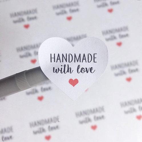 handmade with love, handmade stickers, made with love stickers, love stickers, packaging stickers