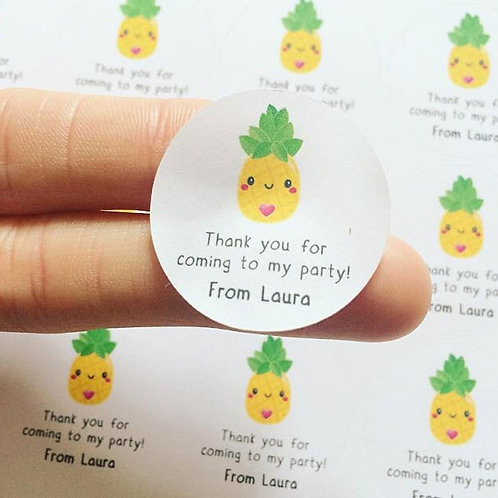 Pineapple Birthday Party Goodie Bag Thank You For Coming To My Party Sticker