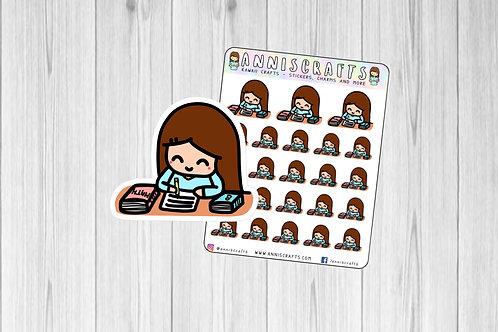 Annika Chibi Study Planner Stickers Write Maths School Stickers