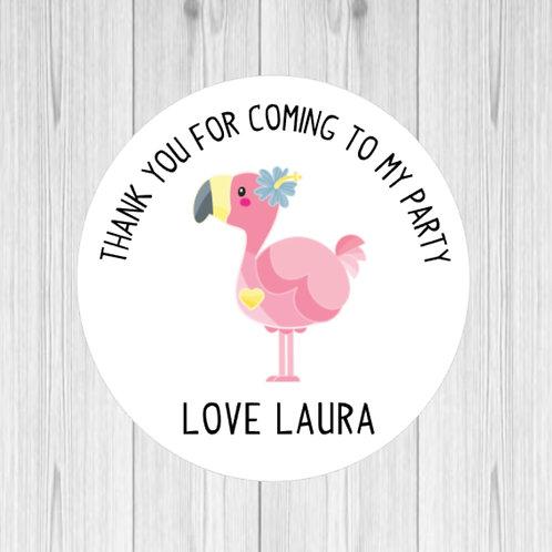 Flamingo Theme Birthday Stickers Custom Name Goodie Bag Stickers