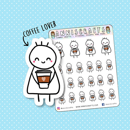 kawaii stickers, coffee time, coffee cup stickers, coffee stickers, starbucks stickers, coffee lover, planner stickers