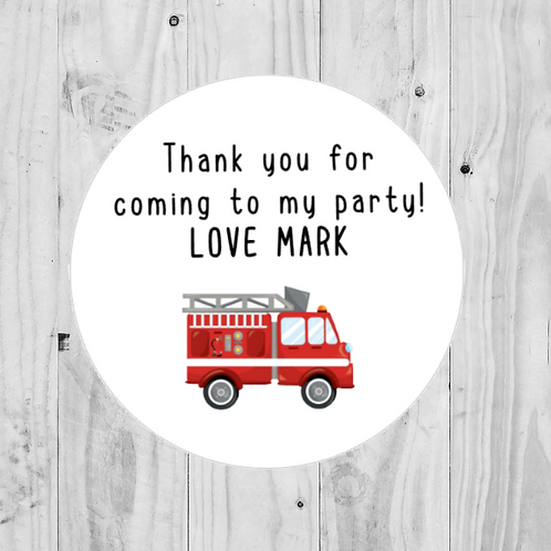 firetruck stickers, fireman stickers, fire engine stickers, party bag stickers, goodie bag stickers, birthday party stickers
