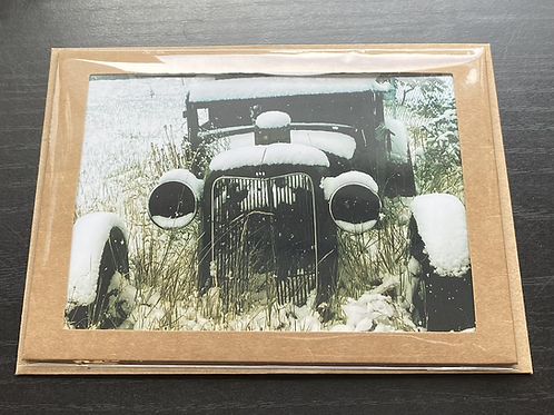 Winter Automobile Photo Note Card