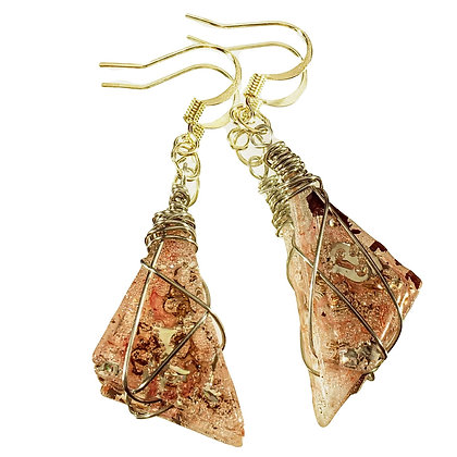 Pink with Purple Inclusions Triangle Medium Upcycled Earrings