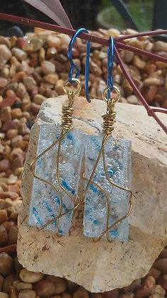 Blue Niobium for Sensitive Ears Upcycled Earrings