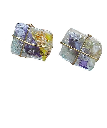 Purple & Yellow Gold Tone Post Earrings