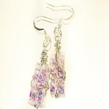 Purple & Blue Rectangle Earrings