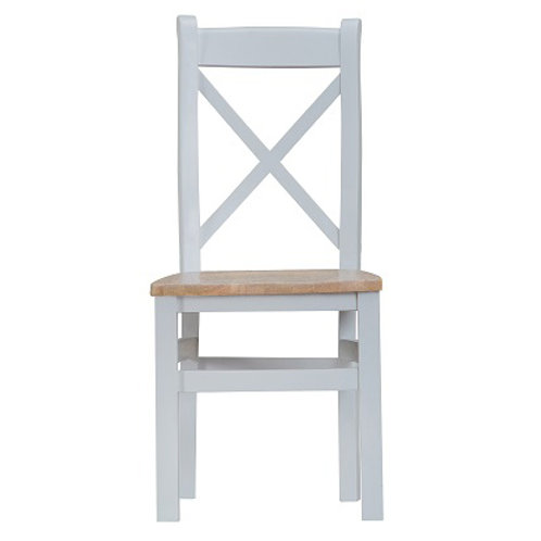 DORSET GREY PAINTED RANGE CROSS BACK CHAIR WOODEN PAD