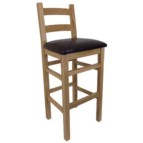 BROMLEY HIGH BACK STOOL WITH BACK  BROWN  SEAT PAD