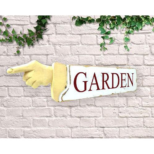 pointing sign garden
