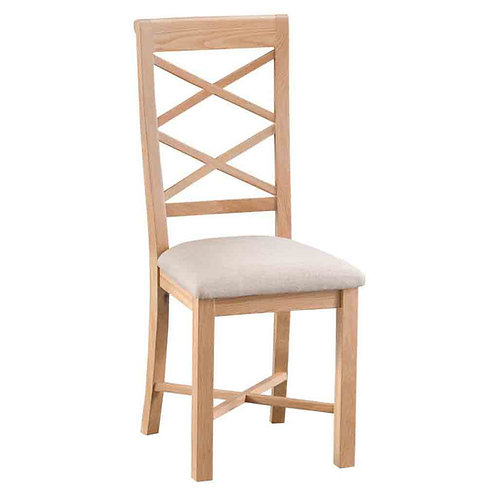 New Bromley double cross back chair with fabic pad