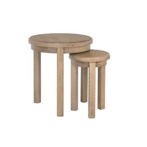 country oak round nest of table set of 2