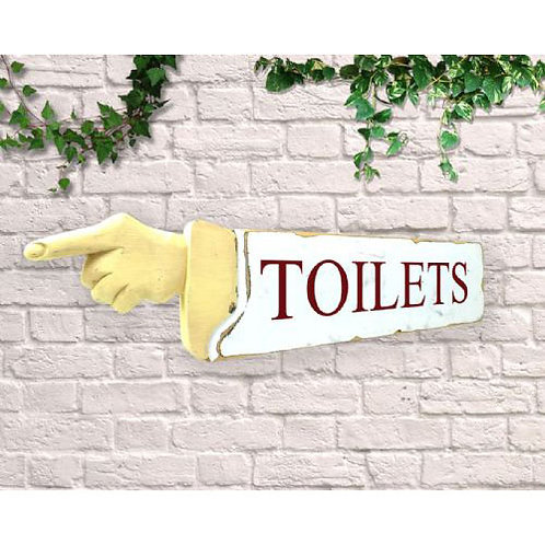 pointing sign toilets
