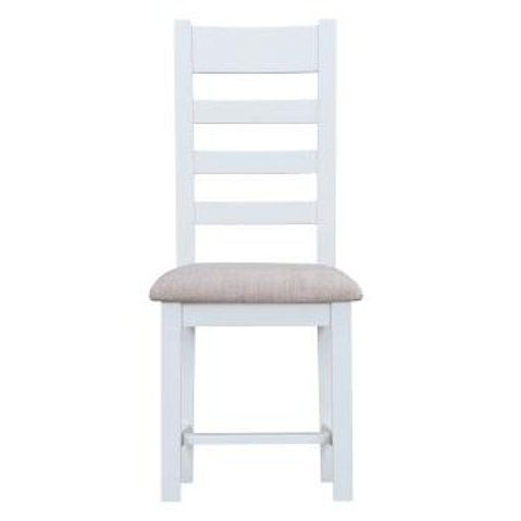 DORSET WHITE  COLLECTION LADDER BACK CHAIR FABIC PAD