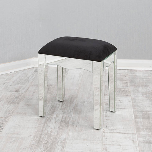 clear mirrored glass dressing table stool
