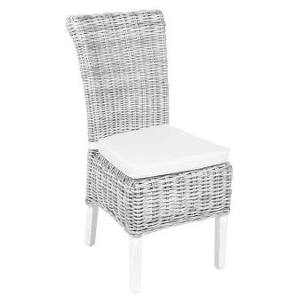 Occasional range white washed wicker chair with cushion