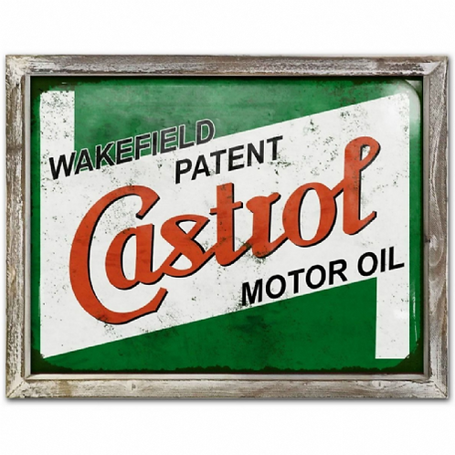 Castrol Vintage Poster Style Framed Steel Picture Wall Display