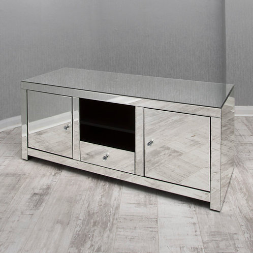 clear mirrored glass t.v unit
