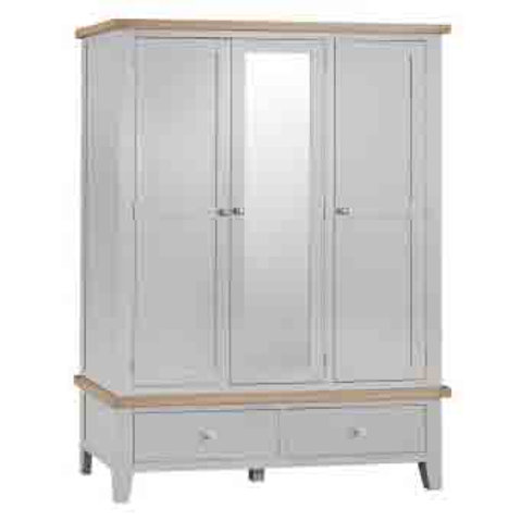DORSET GREY   PAINTED TRIPLE WARDROBE