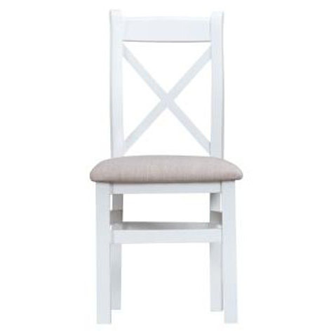 DORSET WHITE  COLLECTION CROSS BACK CHAIRFABIC SEAT