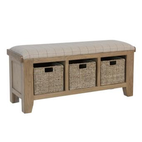 Country oak hall bench