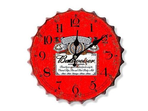 bud red bottle top clock