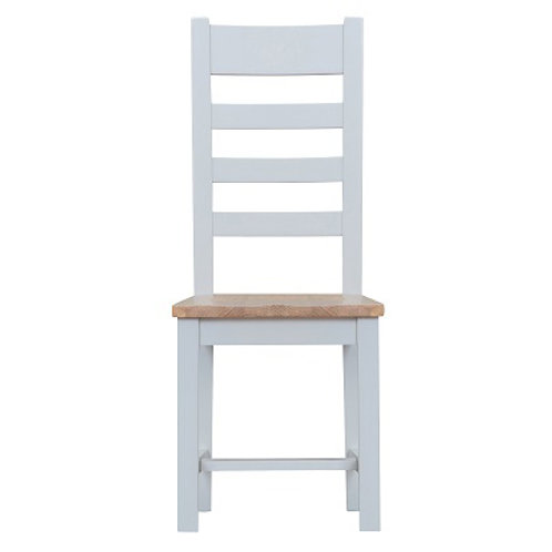 DORSET GREY PAINTED RANGE LADDER  BACK CHAIR WITH WOODEN  PAD