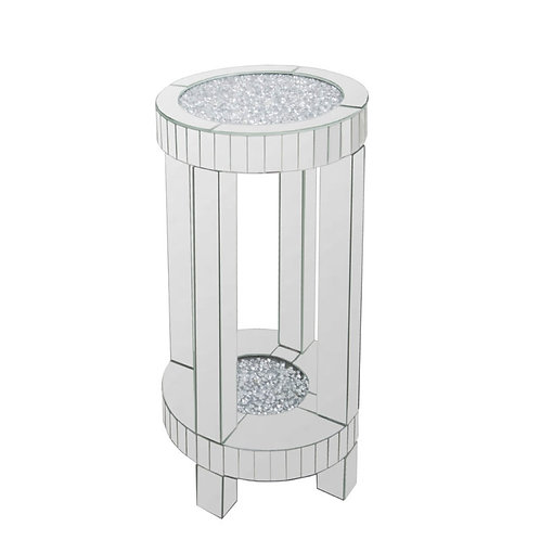 Crushed glass round side table