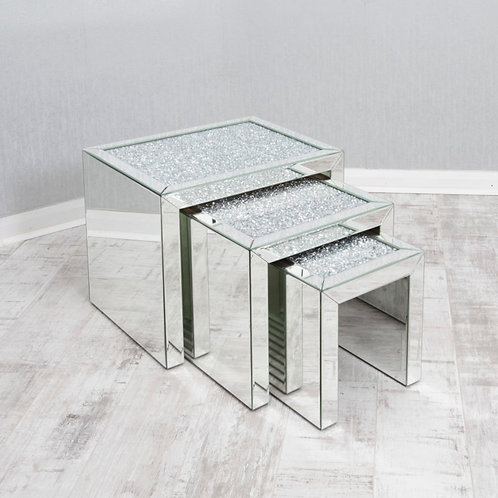 Crushed glass nest of tables