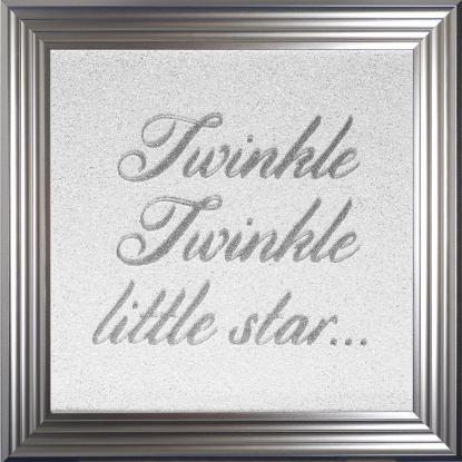 TWINKLE TWINKLE LITTLE STAR  GLITTER ART 75 X 75CM  SILVER FRAME