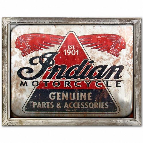Indian Motorcycle Vintage Poster Style Framed Steel Picture Wall Disp