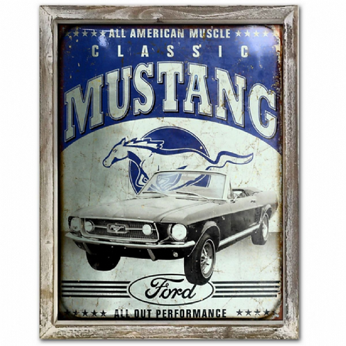 Ford Mustang Car Vintage Poster Style Framed Steel Picture Wall Display Retro
