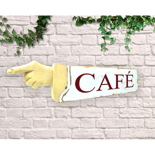 pointing sign cafe