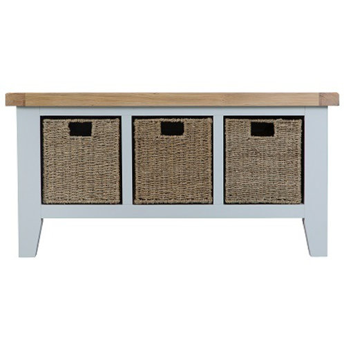 DORSET GREY PAINTED RANGE LARGE BENCH WITH BASKETS