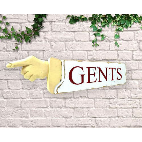 pointing sign gents