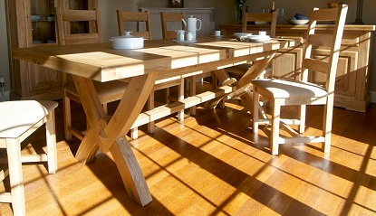 FRENCH OAK REC OX BOW TABLE