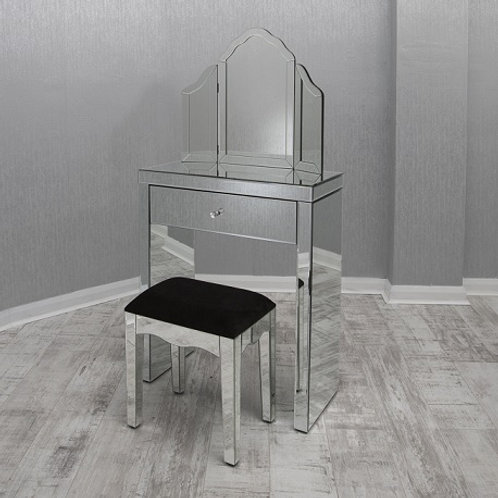 clear mirrored small dressing table set