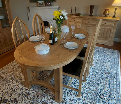 FRENCH OAK OVAL EXTENDING TABLE