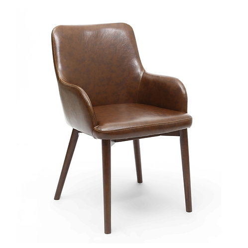 SIDCUP DINING CHAIR VINTAGE BROWN LEATHER MATCH