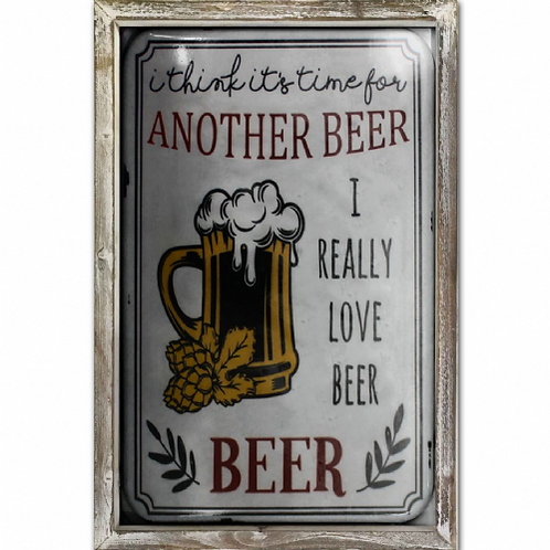 Time for Beer Vintage Poster Style Framed Steel Picture Wall Disp