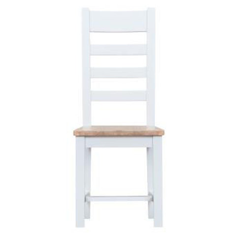 DORSET WHITE  COLLECTION LADDER BACK CHAIR WOOEDEN PAD