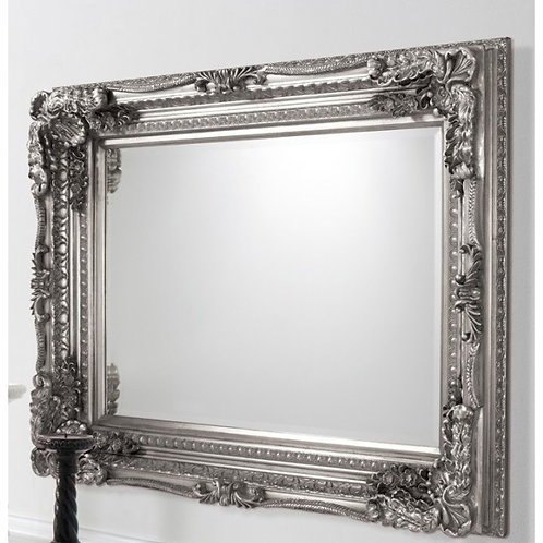 LOUIS RECTANGLE CARVED SILVER  MIRROR