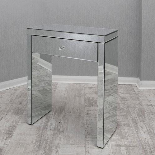 clear mirrored glass small console /desk