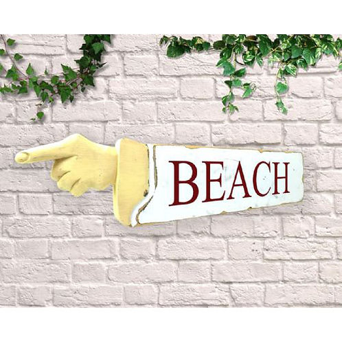 pointing sign beach