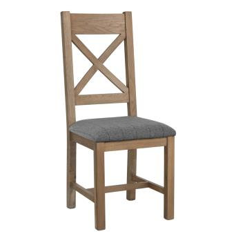 country oak dining chair cross back grey pad