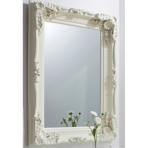 LOUIS RECTANGLE CARVED CREAM MIRROR