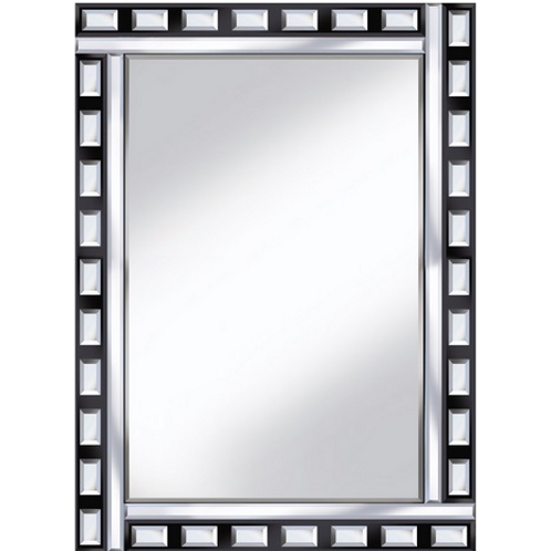 BLACK AND CLEAR GLASS MIRROR 60 X 80