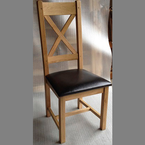 FRENCH OAK CROSS BACK DINING CHAIR