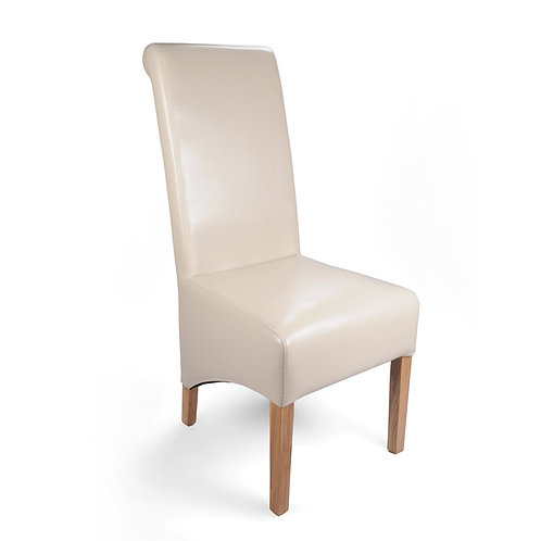 BROMLEY CREAM BONDED LEATHER DINING CHAIR