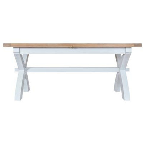 DORSET WHITE  PAINTED COLLECTION 1.8M CROSS EXTENDING TABLE